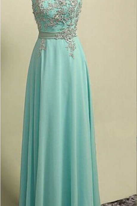 Charming Prom Dress,O-Neck Prom Dress,A-Line Prom Dress,Appliques Prom Dress,Chiffon Prom Dress