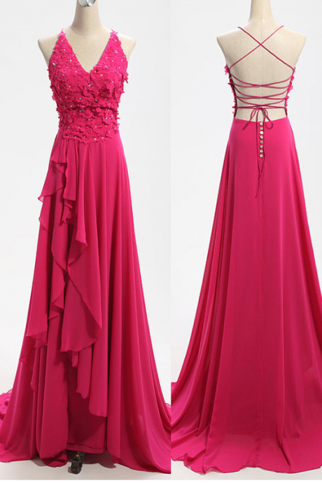 Pink Floor Length Chiffon A-Line Ruffle Prom Dress Featuring Lace Appliquéd and Beaded Adorned Plunge V Bodice and Lace-Up Open Bac