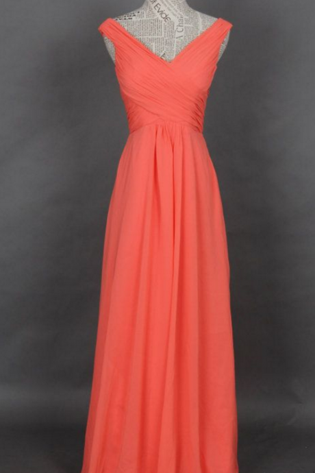 V Neck Chiffon Prom Dress,Elegant Evening Dress,Formal Evening Gowns,Long Bridesmaid Dress