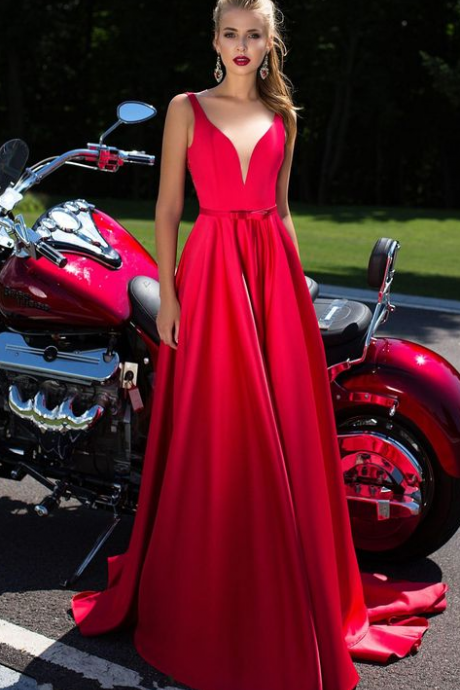 Sexy Long Red Prom Dresses Deep V Neck Bow Sash A Line Formal Gowns Sexy Prom Party Dress Prom Dresses