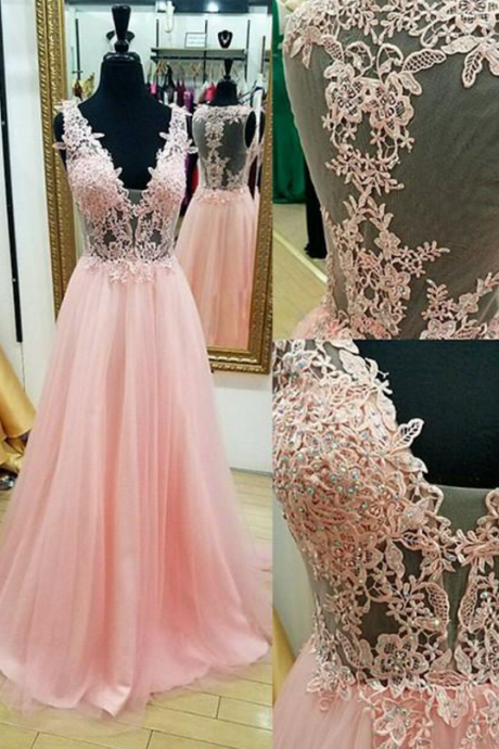 PINK A-LINE V NECK APPLIQUES TULLE LONG PROM DRESS PINK EVENING DRESS