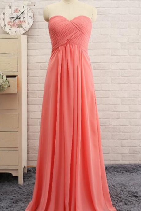 New Pleat Chiffon Coral Bridesmaid Dresses Sweetheart Dress A line Prom dress Party dress evening dress