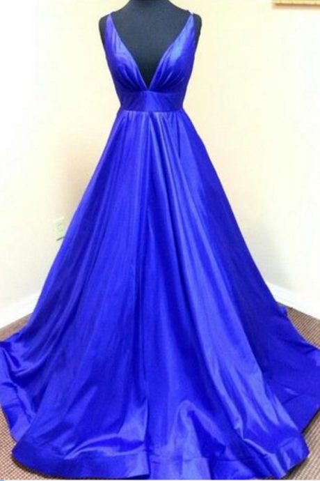 Prom Dress,Charming Prom Dress,Satin Prom Dress,Noble Prom Dress,V-Neck Evening Dress,