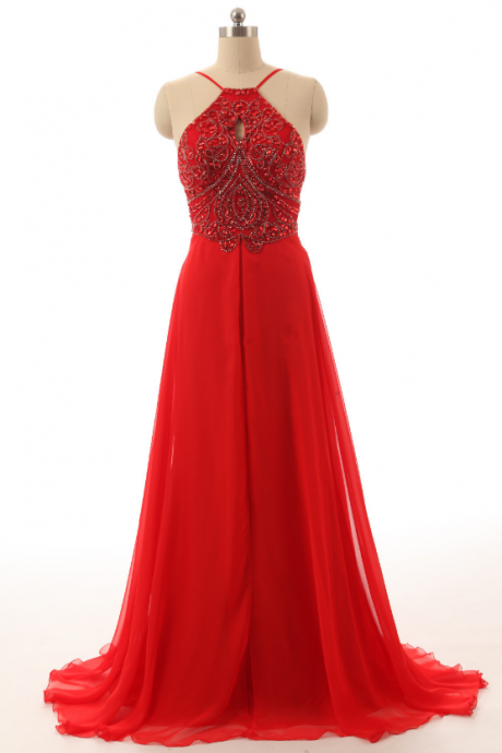Red Prom Dresses, Long Dress For Prom With Halter Neckline,Long Spandex Evening Dress