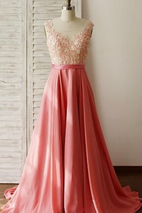 Beautiful Handmade Pink Long Prom Dress with Lace Applique, Prom Gowns, Party Dresses, Evening Gowns, Formal Dresses