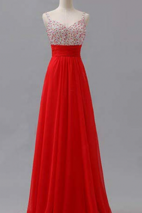 Beaded Embellished Plunge V Shoulder Straps Floor Length Chiffon A-Line Formal Dress, Prom Dress