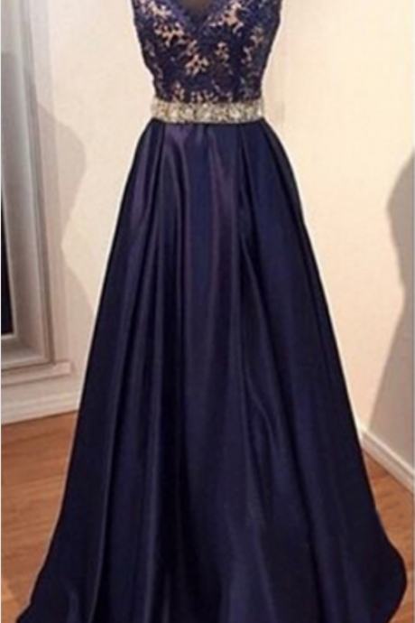 long prom dress, navy prom dress, party prom dress, taffeta prom dress, cheap prom dress, modest v-neck prom dress, evening dress