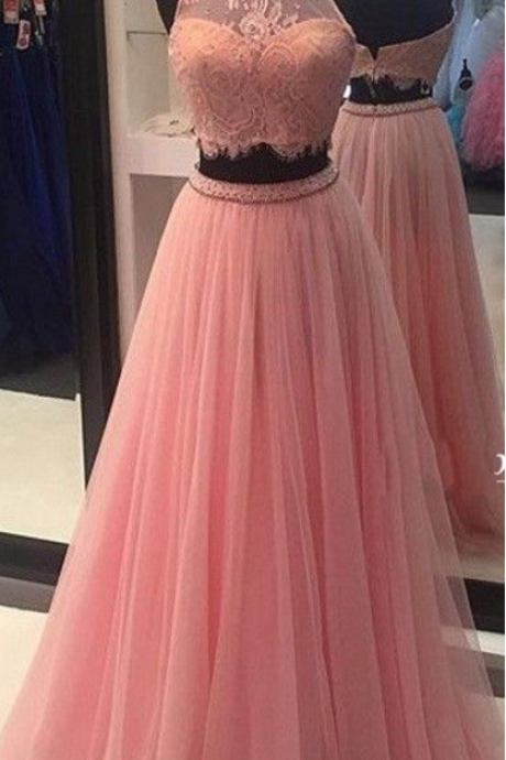 Two Pieces Prom Dress, High Neck Prom Dress, Vintage Tulle Party Dress,