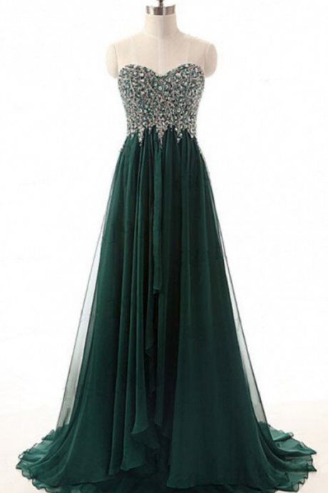 Pretty Green Beading Chiffon Prom Dresses,Handmade Sweetheart Evening Gowns