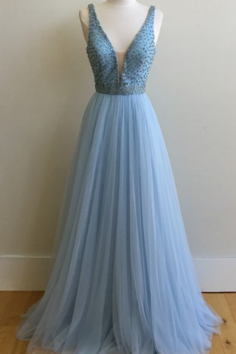 V Neck Prom Dresses,Long Prom Gowns,Chiffon Prom Dresses,Beaded Evening Gowns,Prom Dresses