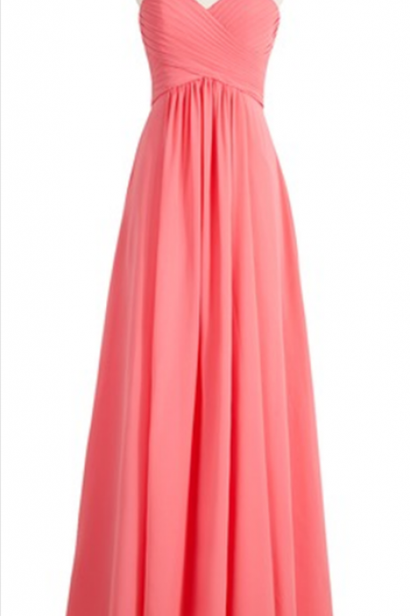 Ruched Chiffon Sweetheart Floor Length A-Line Formal Dress, Bridesmaid Dress