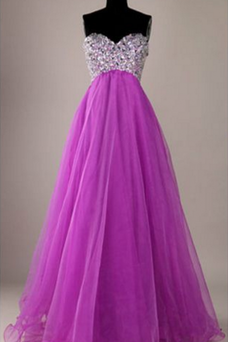 Long Prom Dresses Beaded Sweetheart Neck Sexy Fashion Evening Prom Gowns