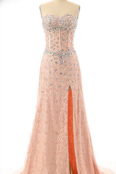 Sweatheart neck prom dress, strapless prom dress, a-line princess prom dress , lace and beading prom dress