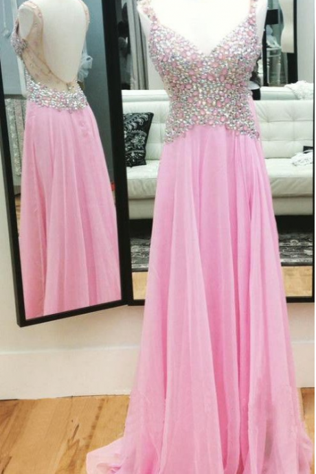 Pink Beaded Embellished Plunge V Shoulder Straps Floor Length Chiffon A-Line Prom Dress Featuring Open Back