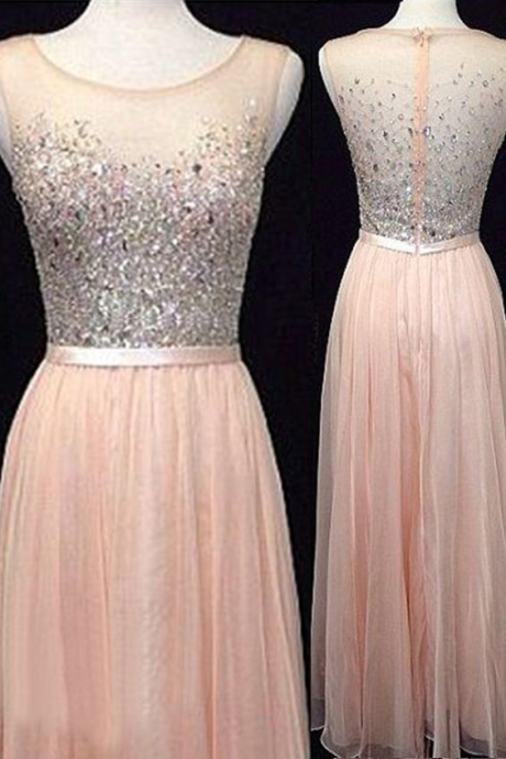 Pink prom dress,long prom dress,round neck prom dress,sleeveless prom dress,long prom dress,beautiful beading prom dress