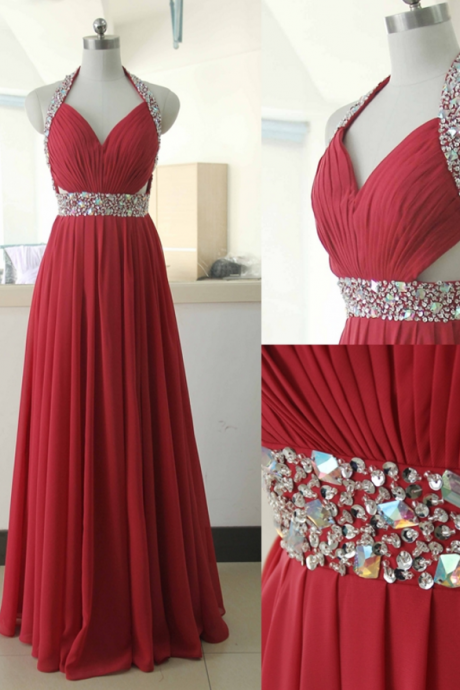 Halter Ruched Chiffon A-line Floor-Length Prom Dress, Evening Dress Featuring Rhinestone Embellishment and Cutout Details