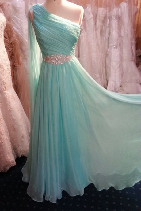 One-shouder strap prom dress,chiffion prom dress,simple prom dress,beautiful beading prom dress,high quality prom dress,dress
