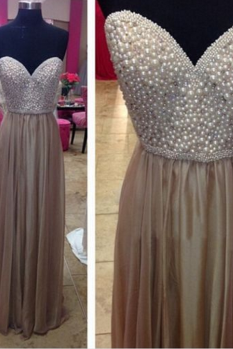 Sweatheart neck prom dress,strapless prom dress,long prom dress,chifffion prom dress,beautiful beading prom dress