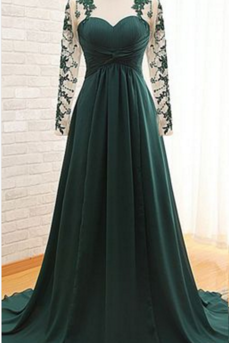 Sweetheart Ruched A-line Long Prom Dress, Evening Dress with Long Sleeves and Keyhole Back