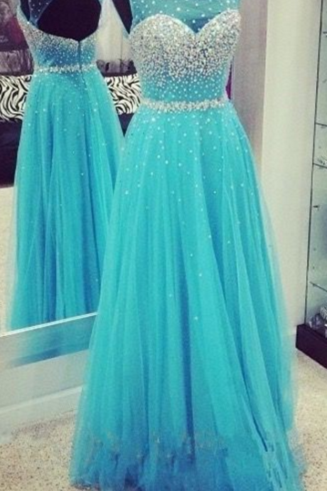 A-line princess dress,long prom dress,beautiful beading dress,tulle dress,sleevless prom dress