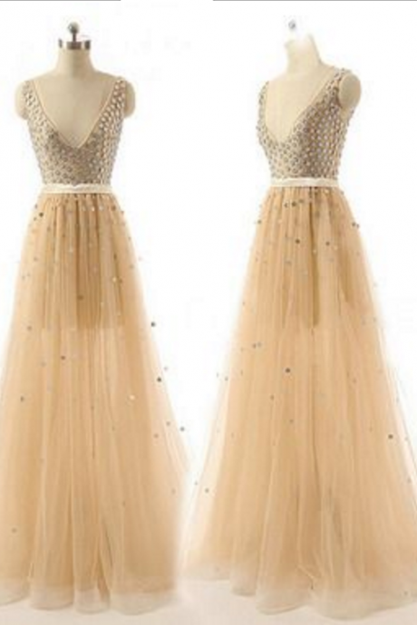 A-line sleeveless prom dress,long prom dress,sexy evening dress ,beautiful beading dress