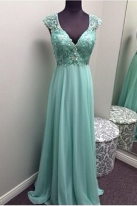 Cap Sleeve prom dress,beading prom dress,long prom dress,chiffion prom dress,Elegant Women dress,Party dress