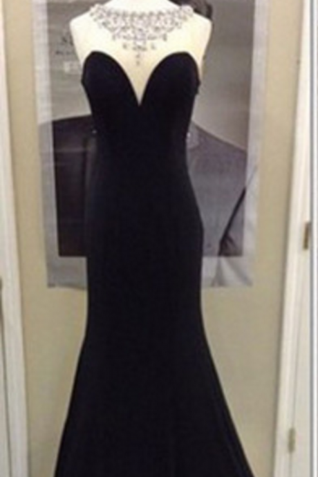 Black Mermeid Prom Dress Elegant Long Evening Dress Fashion Beading dress Floor Length prom dress