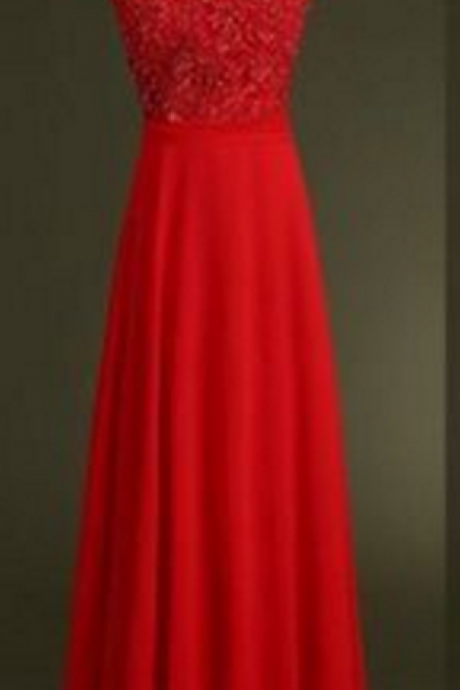 Red prom dresses,Custom prom dress,A Line prom dresses,Round Neck Long Prom Dresses, Long Evening Dresses,Formal Dresses