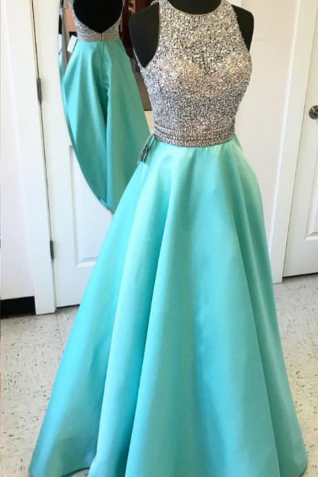 Modest Aqua Evening Dresses With Sheer Neckline Jewel A Line Satin See Through Hollow Back Designer Sequin Beading Prom Dresses Long Cheap Pageant Formal Gowns