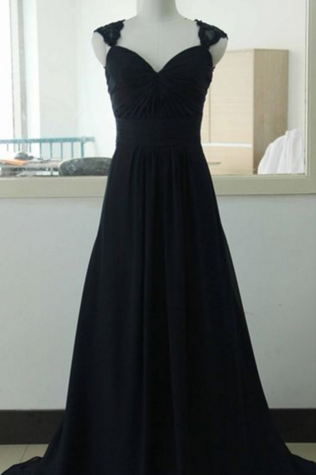 Long Black Chiffon Evening Dress with Lace Cap Sleeves Formal Occasion Dress