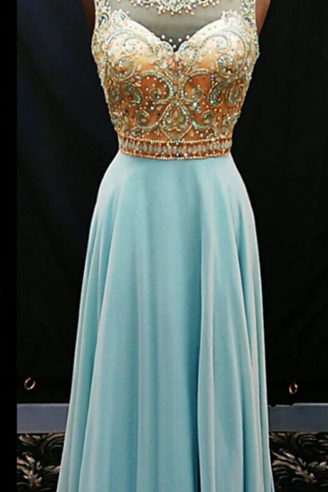 Sky-blue string ball gown, chiffon evening dress.