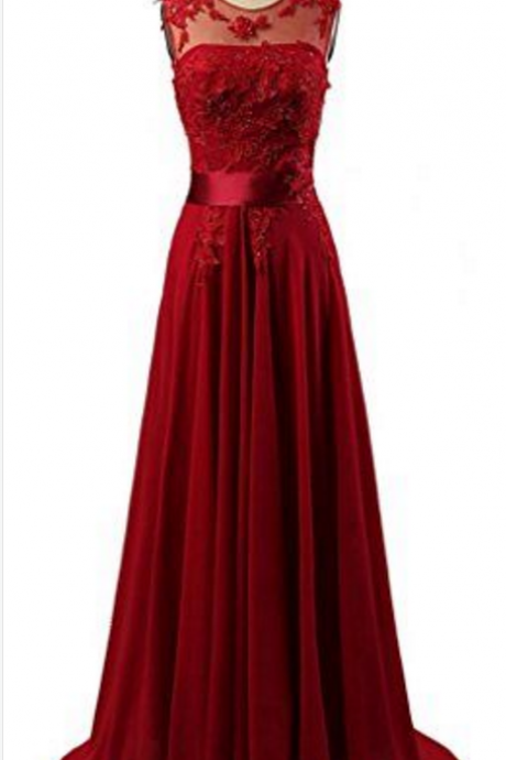 Dark Red Sheer Neck Long Formal Occasion Dress