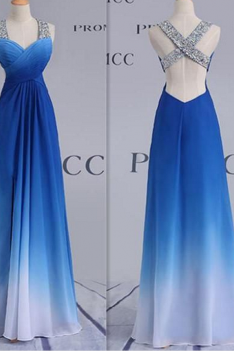Blue Long Prom Dress with Beaded Straps