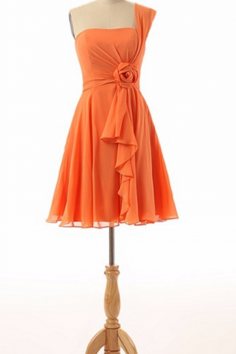The actual sampling of silk opens a short cocktail gown with an orange cocktail dress