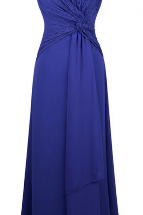 Sleeveless Angel-fashions criss-cross pleated, silk long wedding dress party blue party dress
