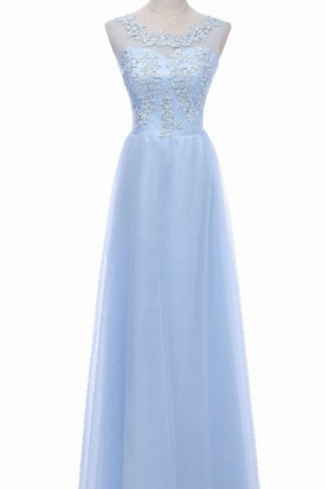 A thin gauze border blue pajamas for the long time the pearl evening dress festa dress dress is the personality of the long gown party L dress
