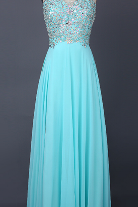 Halter Sheer Beaded A-line Floor-Length Prom Dress, Evening Dress Featuring Keyhole Back