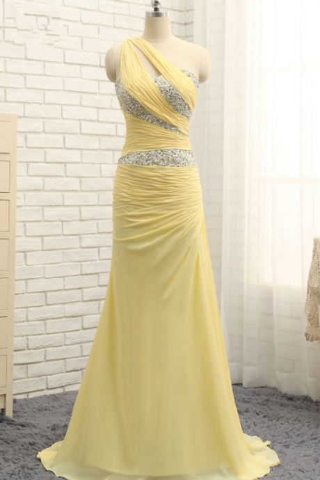 One-Shoulder Asymmetric Beading Mermaid Long Prom Dress, Evening Gown