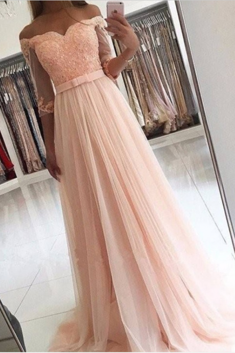 A-Line Off-the-Shoulder 3/4 Sleeves Pearl Pink Prom Dress with Appliques