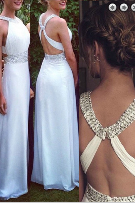 Fashion Scoop Beading Open Back Floor-Length White Chiffon Prom Dress
