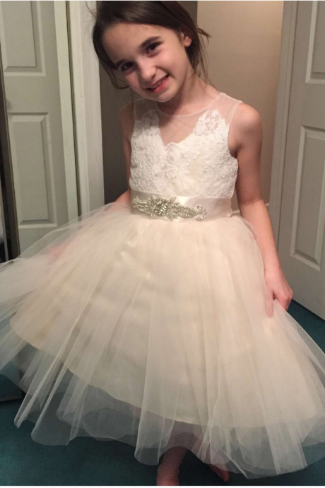 Flower Girl Dress,Tulle Flower Girl Dress,Lace Flower Girl Dresses,Sleeveless Flower Girl Dress With Rhinestone
