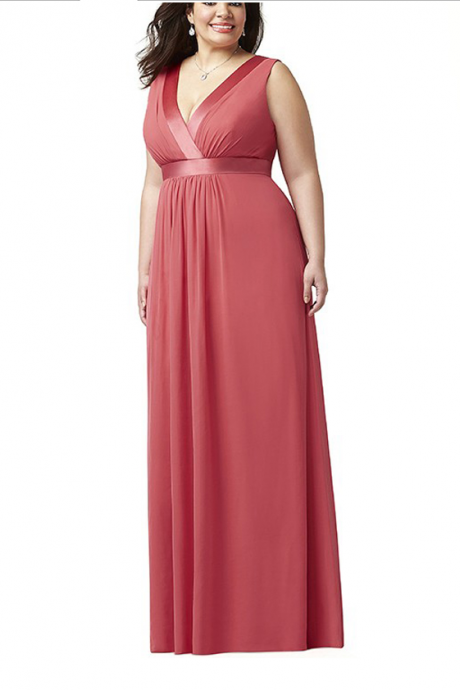 Plus Size Women's Party Dresses,Coral Weding Guest Dresses,V-Neck Party Dresses,Wedding Party Dresses Long,Simple Elegant Formal Occasion Dresses,Custom Made Party Dresses,Party Gowns