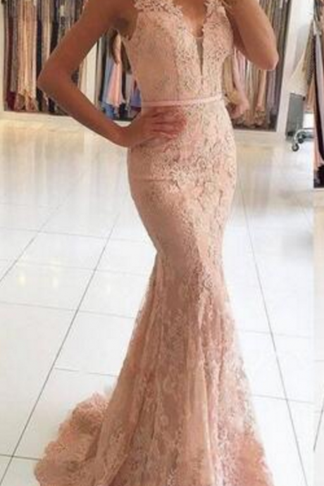 Long Mermaid Evening Dresses V Neck with Beaded Lace Evening Gowns Sexy Illusion Back Sheath Prom Dresses