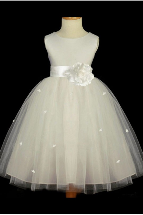 Ivory Soft Tulle Flower Girl Dresses, Cheap Flower Girl Dress, Puffy Flower Girl Dresses, Toddle Dresses For Litter Girls