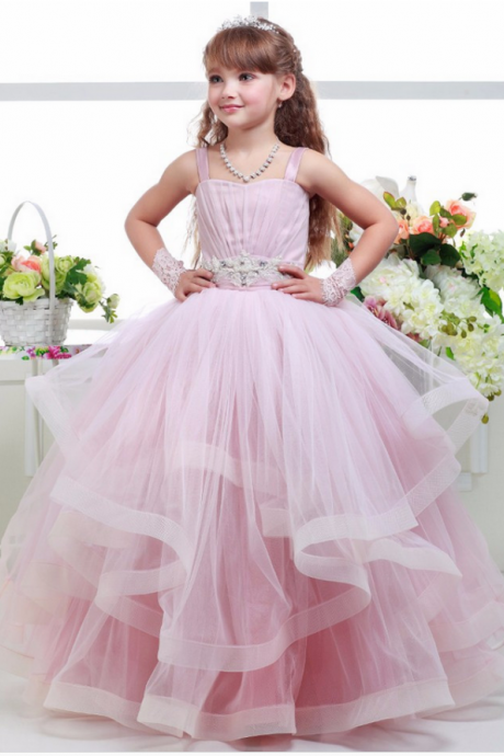 Flower Girls Dresses.High Quality Girl Dresse.Ruffles Pink Ball Gown Flower Girls Dresses Spaghetti Girls Pageant Dresses Beading For Wedding Vestidos De Comunion