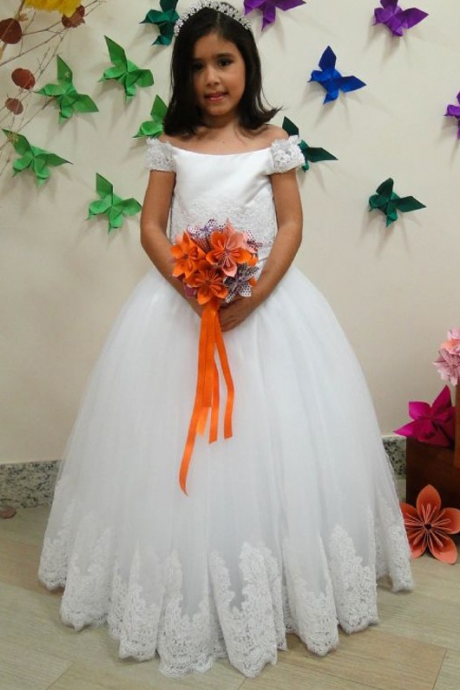 Showy Ball Gown Flower Girls Dresses Bateau Neck Blue