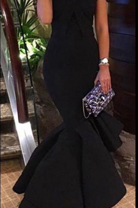 Sexy Black Prom Dresses Off Shoulder Mermaid Evening Dress Simple Cheap Sleeveless Elastic Satin Formal Dresses