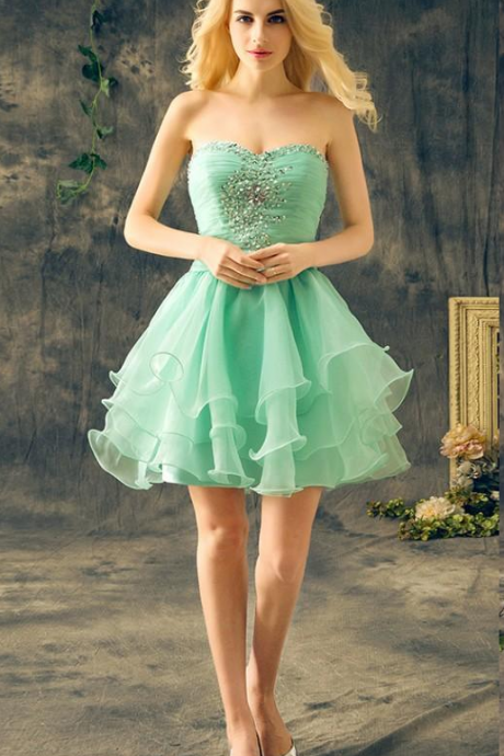 Mint Green Short Homecoming Dresses Sweetheart Sleeveless Crystal Beaded Ruffles Chiffon Cheap Real Cocktail Party Dresses
