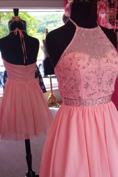 Chic Beaded Halter Pink Chiffon Homecoming Dresses Short Prom Gowns custom made new arrive hot sale buy short