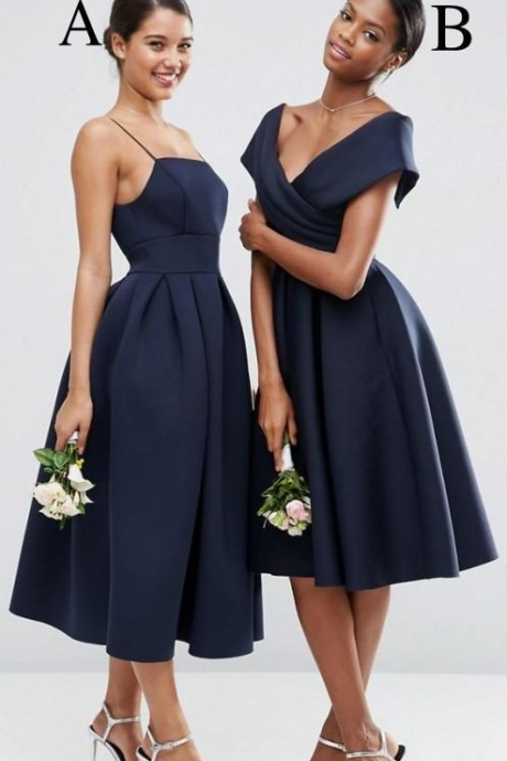 Vintage Navy Blue Off the Shoulder Bridesmaid Dresses Tea Length Satin Bridesmaid Prom Gowns Wedding Party Vestidos
